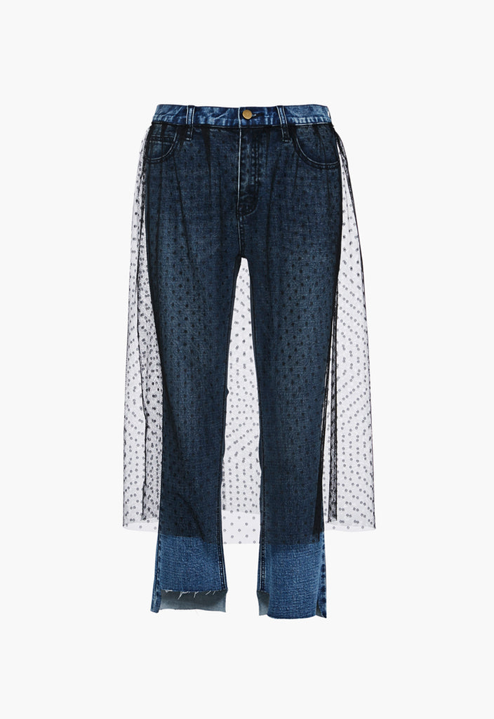 Jeans With Mesh Overlay - Fresqa