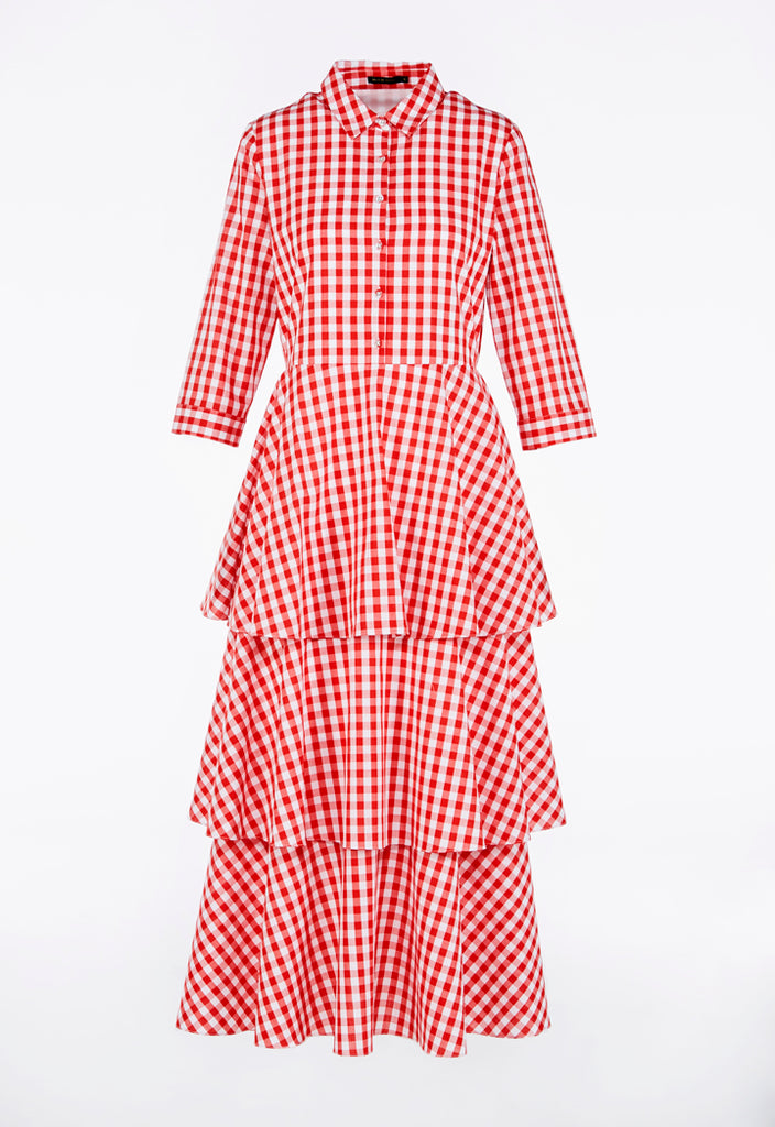 Gingham Layer Frilled Dress - Fresqa