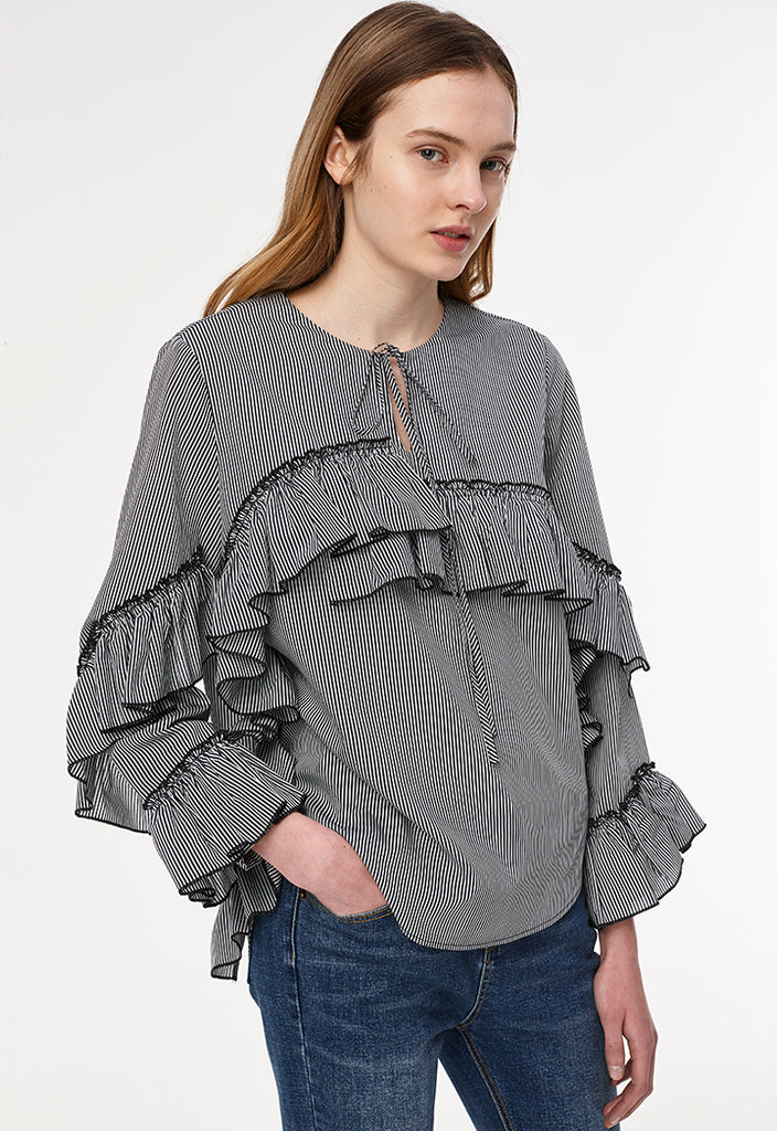 Stripes Full Frill Blouse - Fresqa