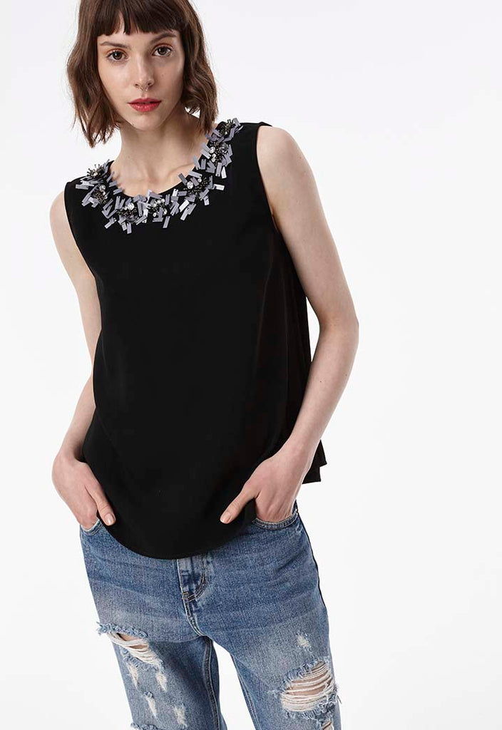 Sleeveless Sequins Top - Fresqa