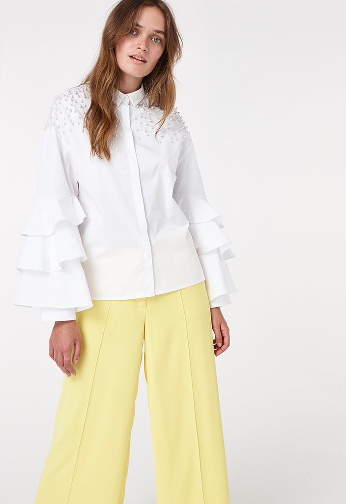 Frilled Sleeve Studded Shirt - Fresqa