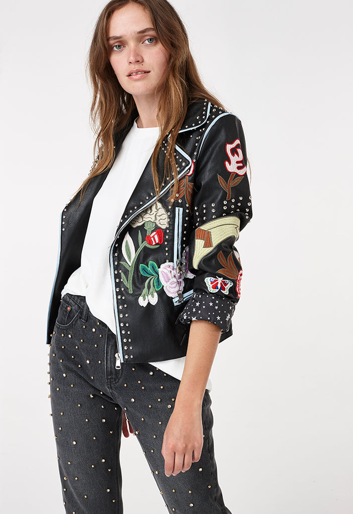 Embroidered Patches Leather Jacket - Fresqa