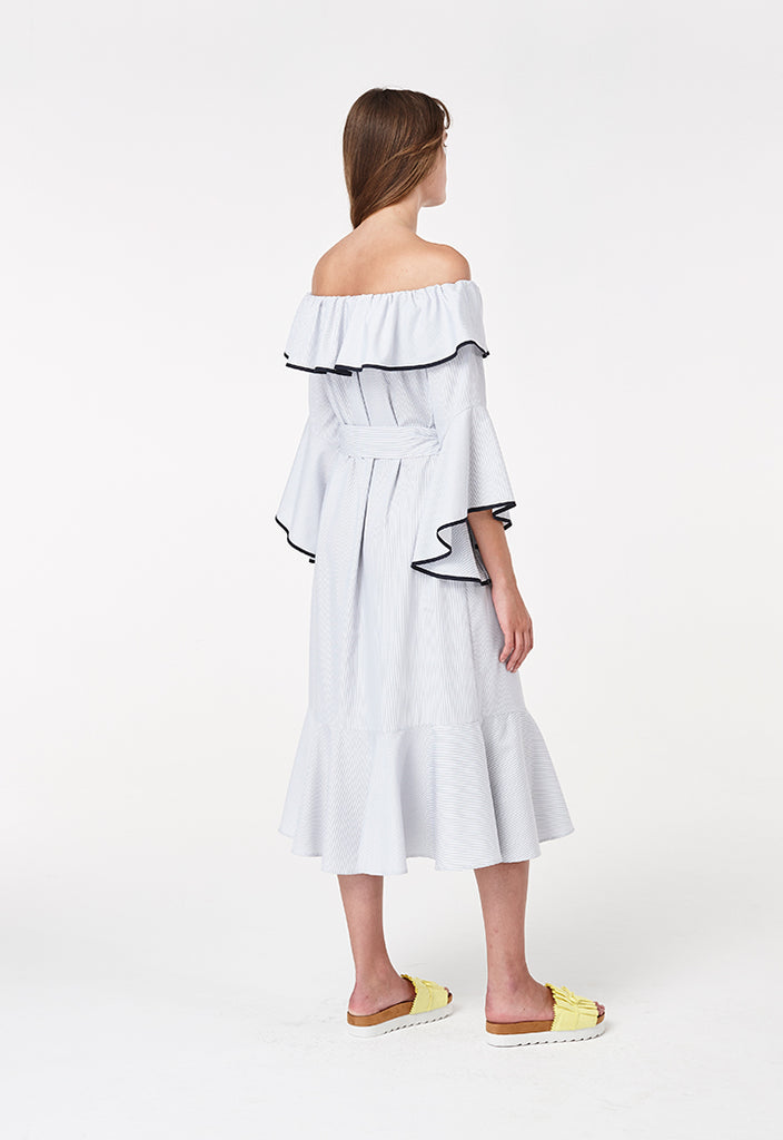 Off Shoulder Frill Dress - Fresqa