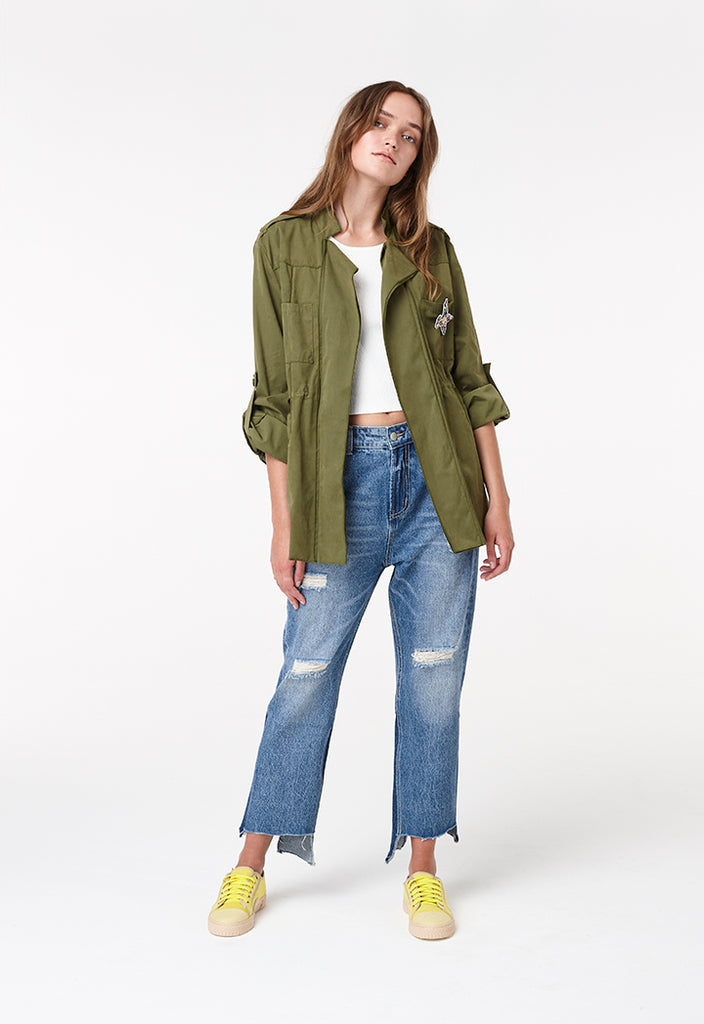 Patched Drawstring Jacket - Fresqa