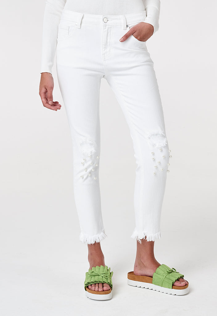 Pearl Studded Ripped Jeans - Fresqa
