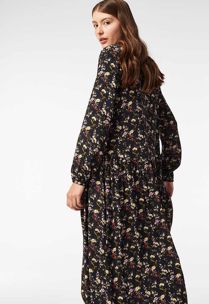 Wide Hem Floral Printed Dress - Fresqa