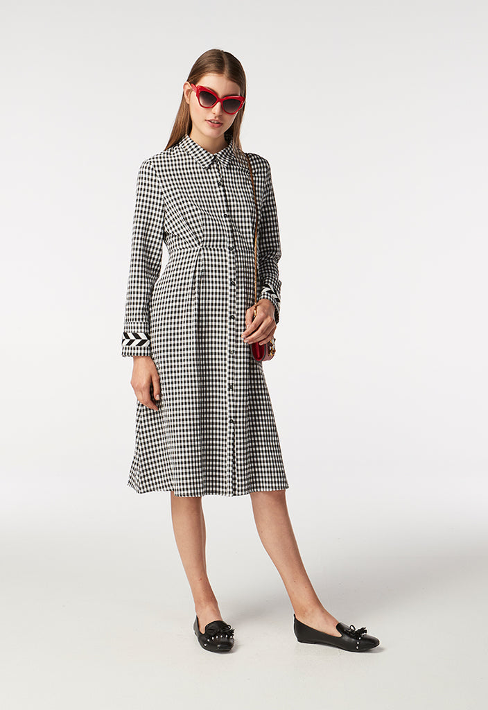 Checkered Collar Dress - Fresqa