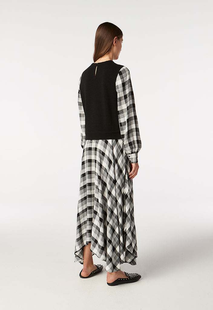 Checkered Dress with Vest Overlay - Fresqa