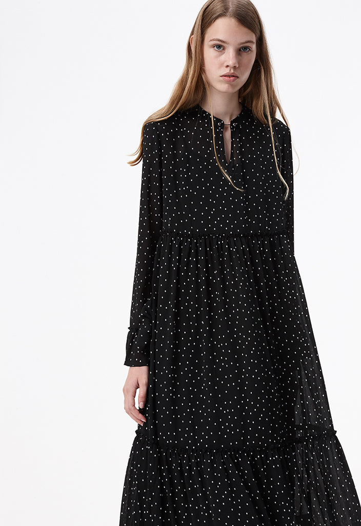 Polka Dots Black Dress - Fresqa