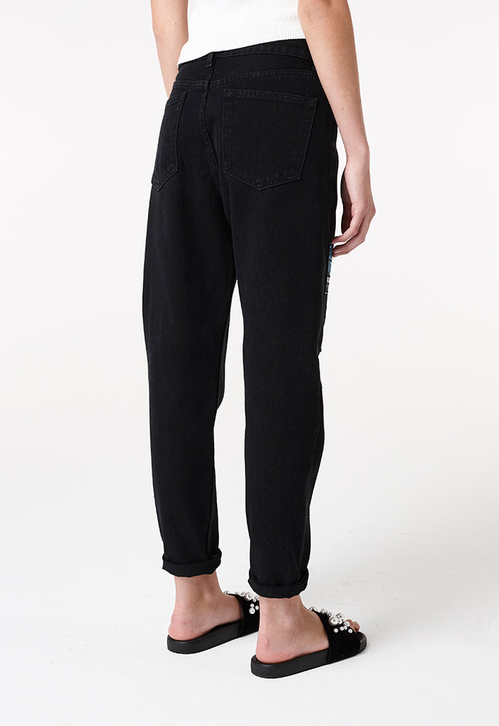 Black Patched Jeans - Fresqa