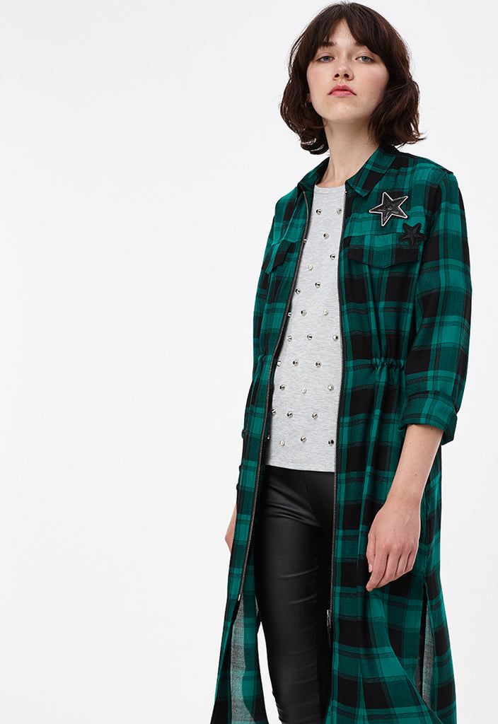 Checkered Dress With Star Patch - Fresqa