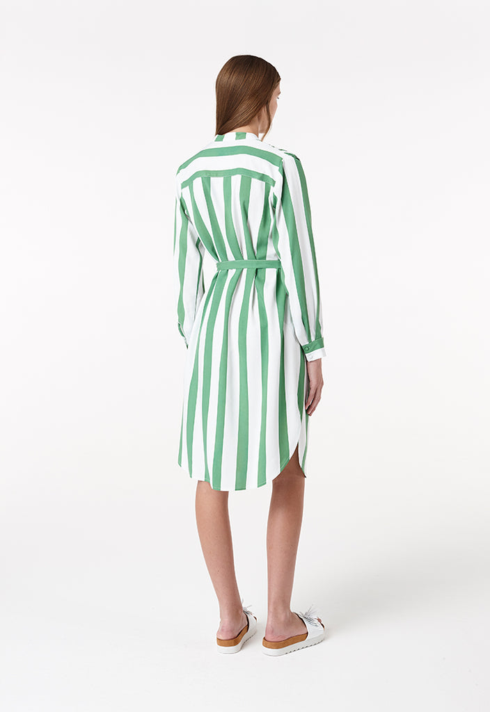 Stripe Waist Tie Dress - Fresqa