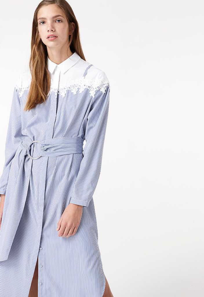 Long Embroidery Detail Shirt - Fresqa