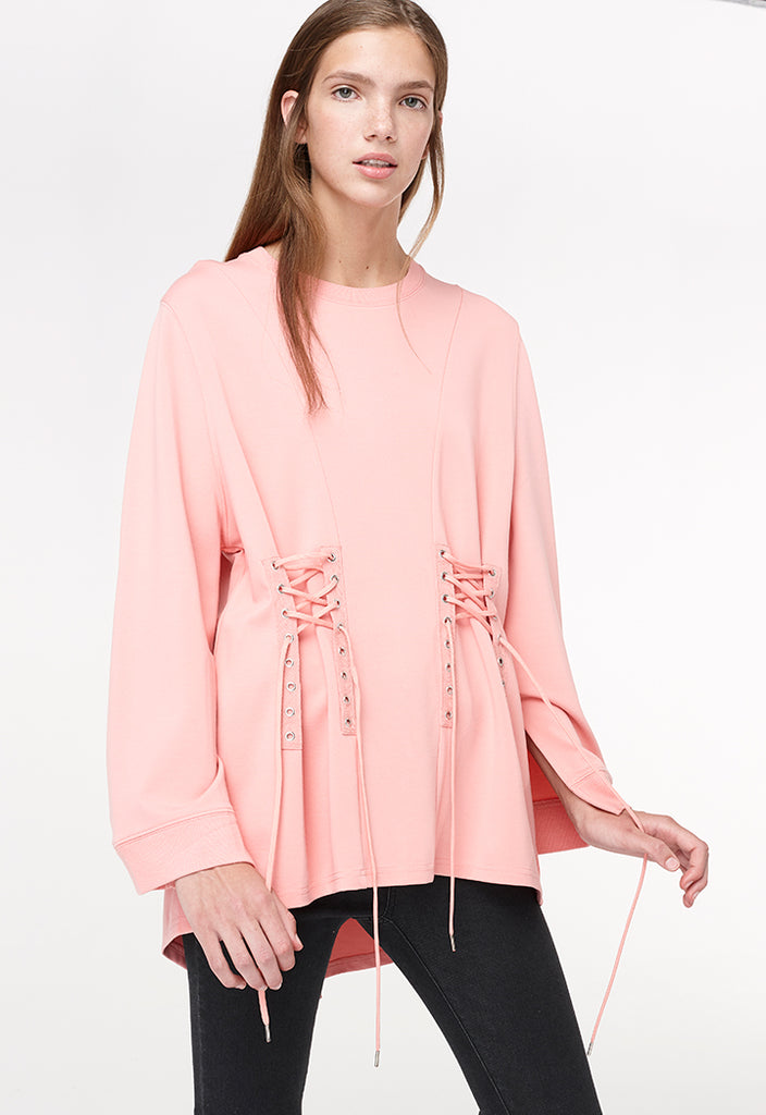 Long Sleeve Lace Up Shirt - Fresqa