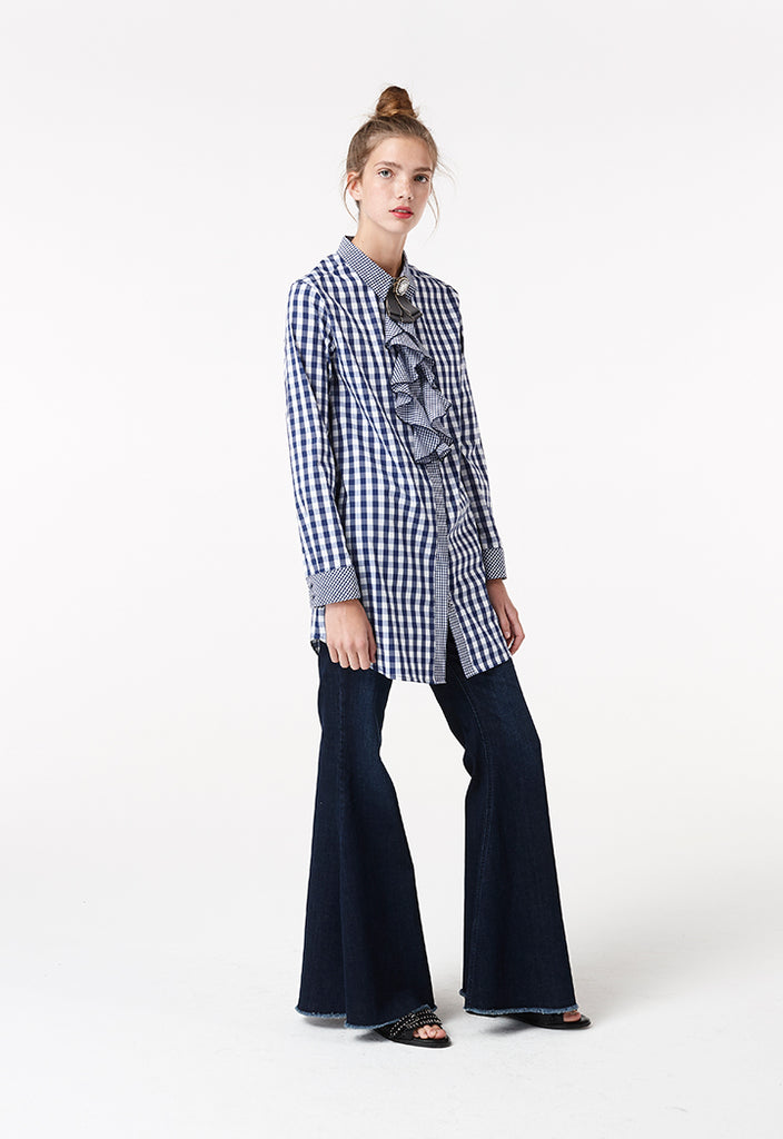 Ruffled Checkered Shirt - Fresqa