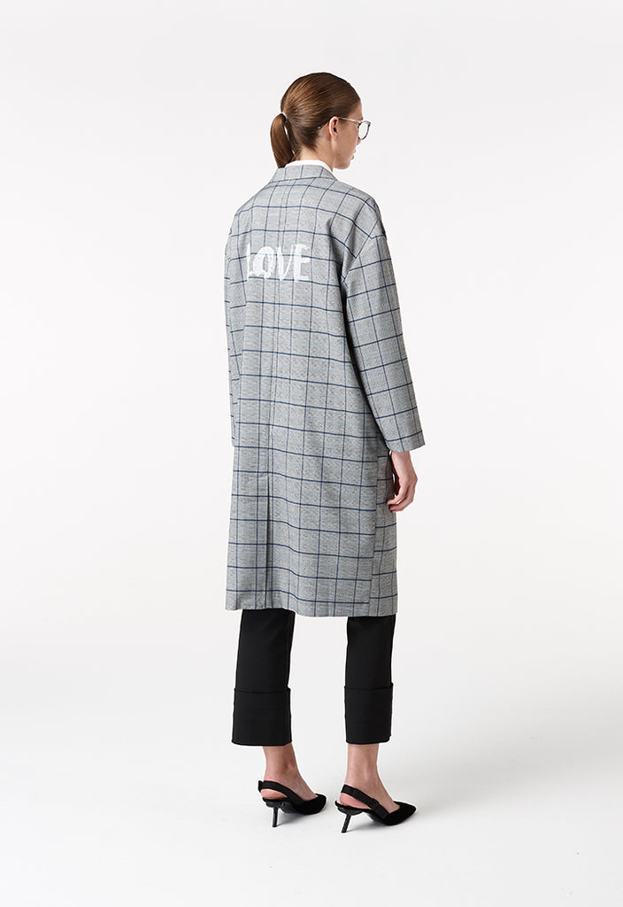 Notch Collar Checkered Coat - Fresqa