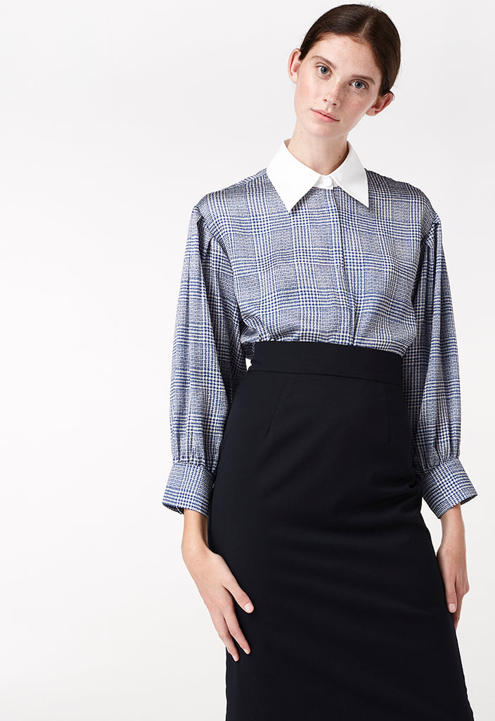 Checkered Satin Button-Up Dress - Fresqa