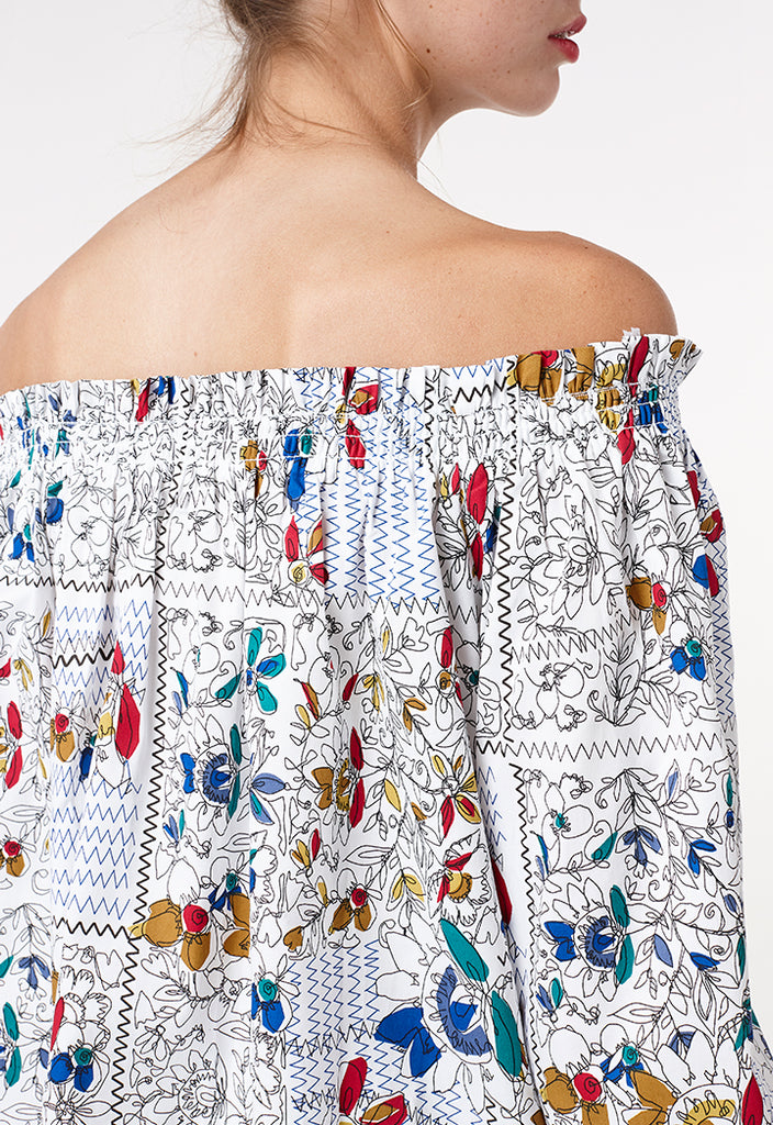 Off Shoulder Sketch Blouse - Fresqa