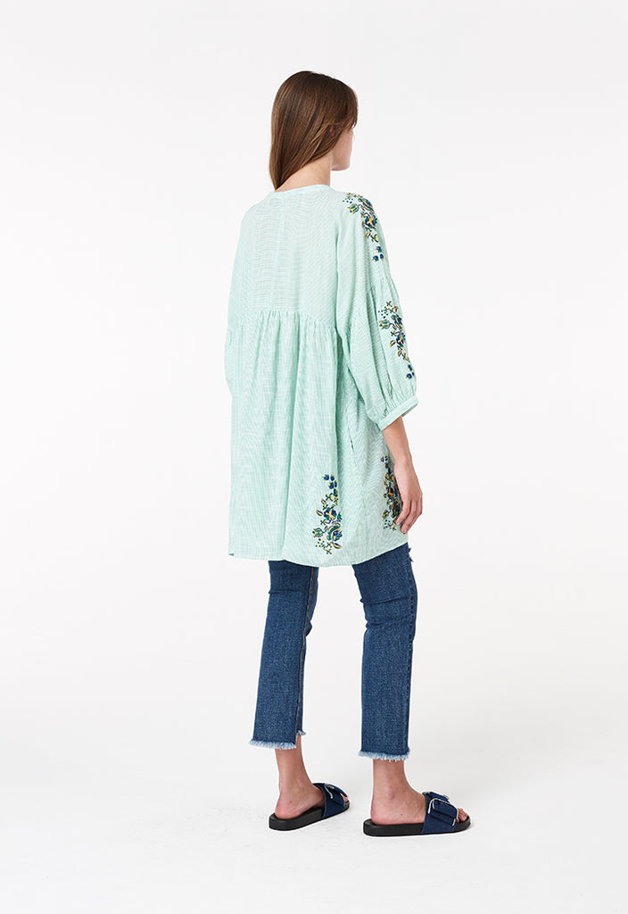 Tassel Thin Stripe Blouse - Fresqa