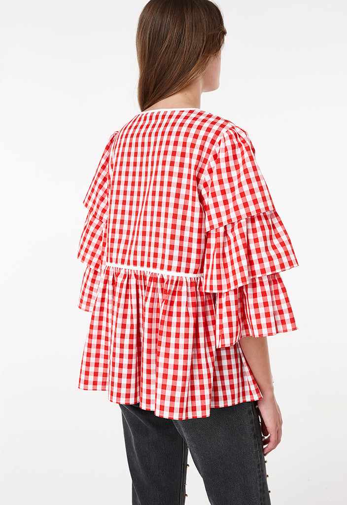 Gingham Layer Frilled Outerwear - Fresqa