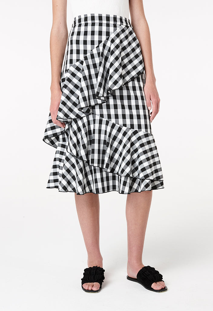 Checkered Ruffle Skirt - Fresqa
