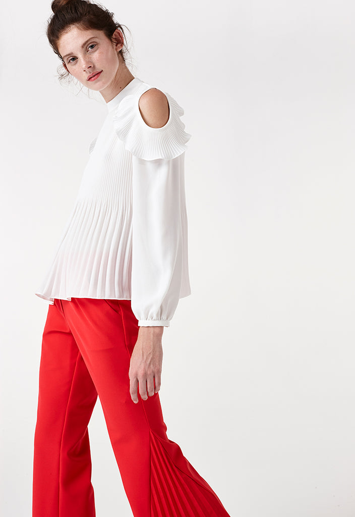 Ribbed Cold Shoulder Blouse - Fresqa
