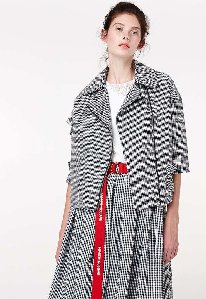 Checkered Half Sleeves Jacket - Fresqa