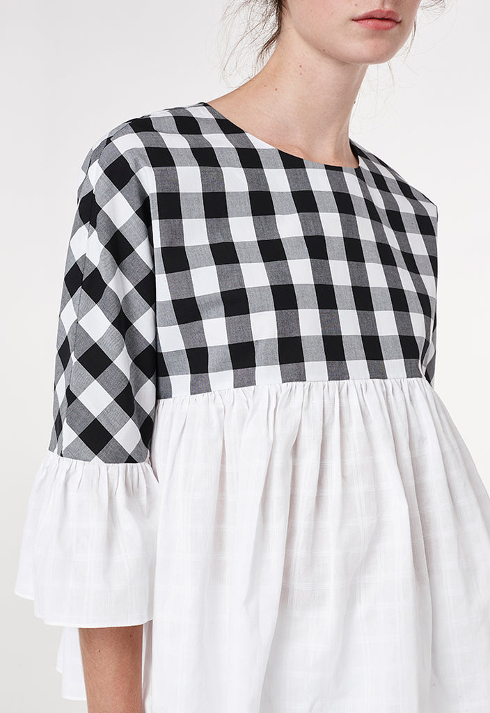 Checkered Poplin Blouse - Fresqa