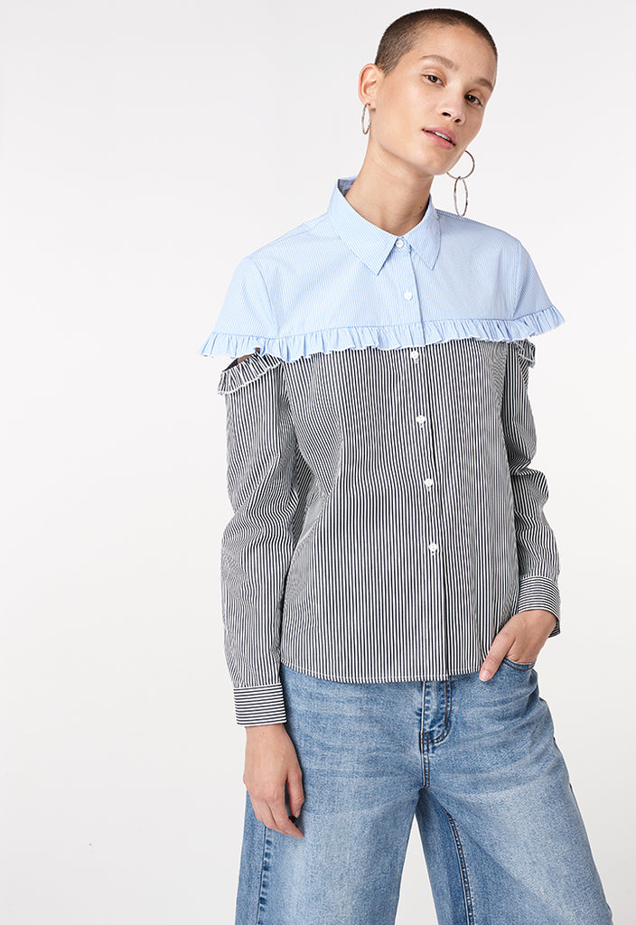 Mixed Fabric Square Blouse - Fresqa