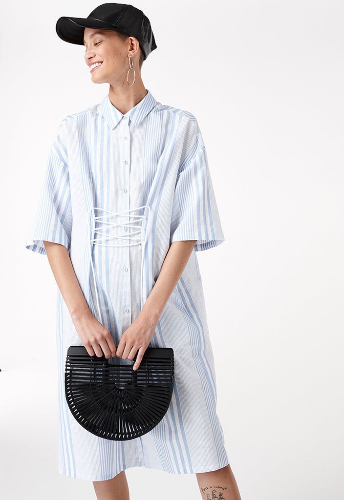 Stripe Lace-Up Collar Dress - Fresqa