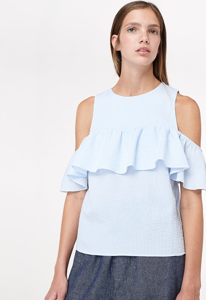 Textured Frill Sleeveless Blouse - Fresqa
