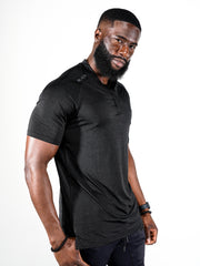 Men's Black Marble Performance Polo