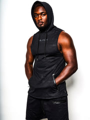 Men's Black Camo Sleeveless Performance Hoodie