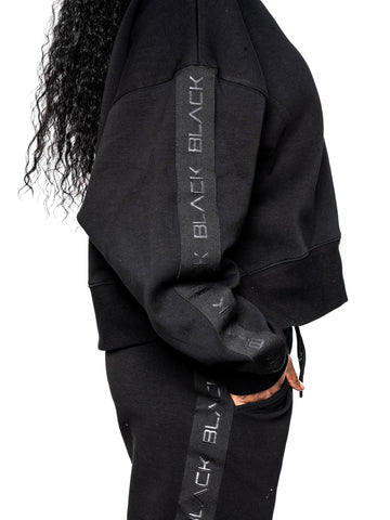 Women's Black Band Luxe Oversized Crewneck