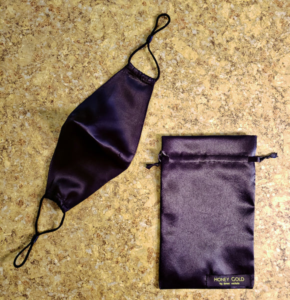 Black Silk Face Mask & Pouch