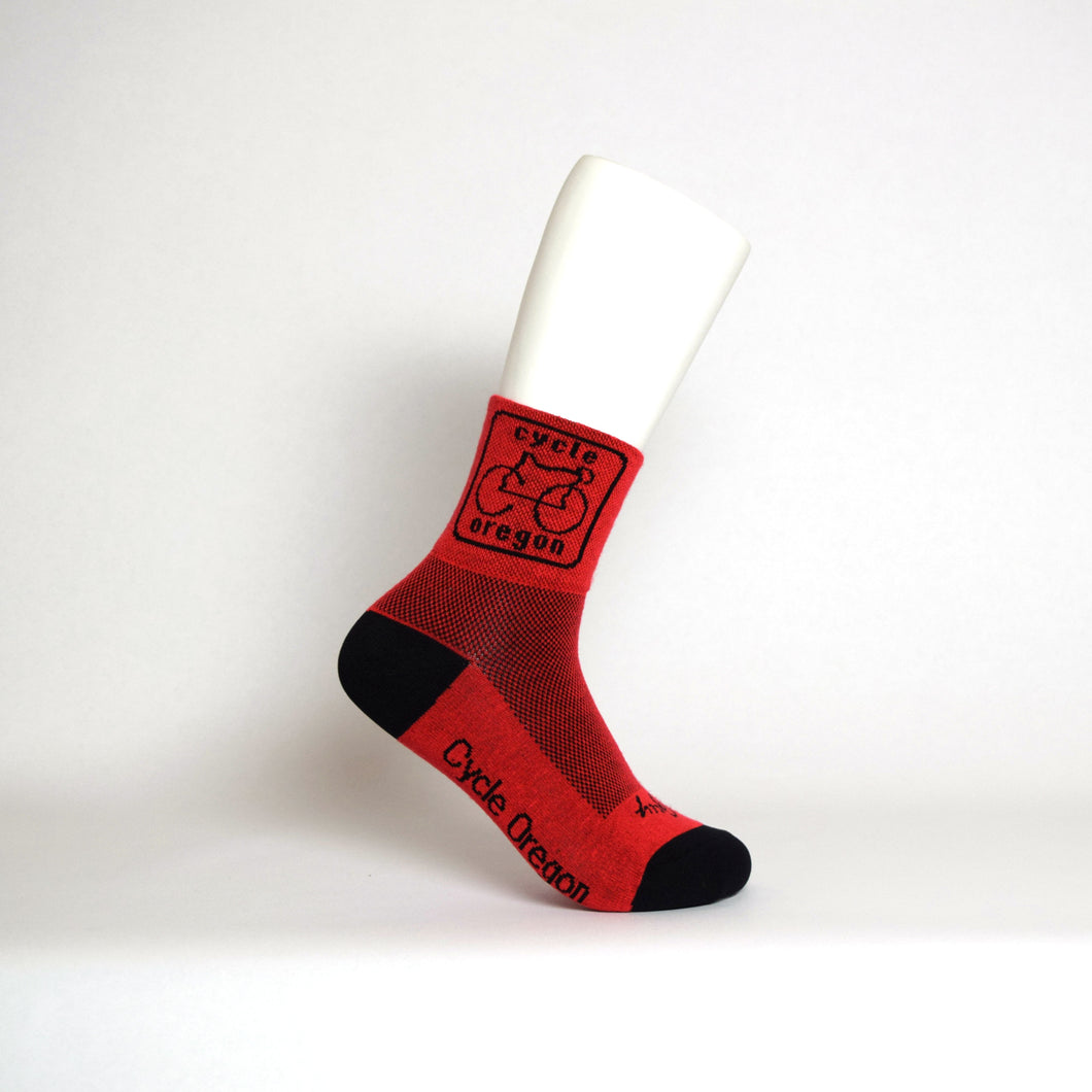 Cycle Oregon Socks Acrylic Red With Black