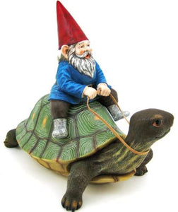 Large Garden Gnome Riding Turtle Statue Patio Pool