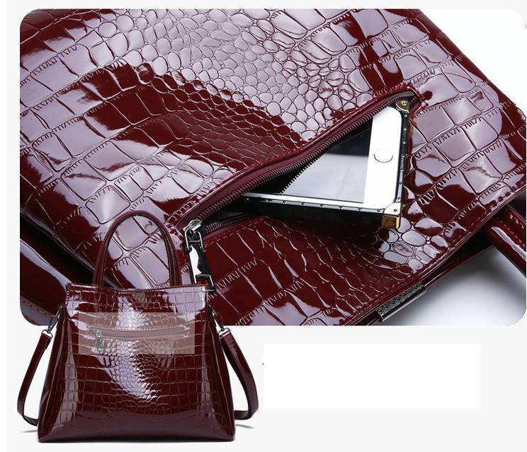 Luxury Brand Crocodile Patent Leather Women Hand Bags
