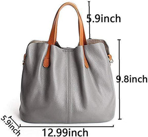 (Hot Sale!!)Two In One Leather Shopper Tote Bag
