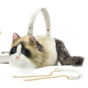 Handmade Artificial Cat Handbag Faux Leather