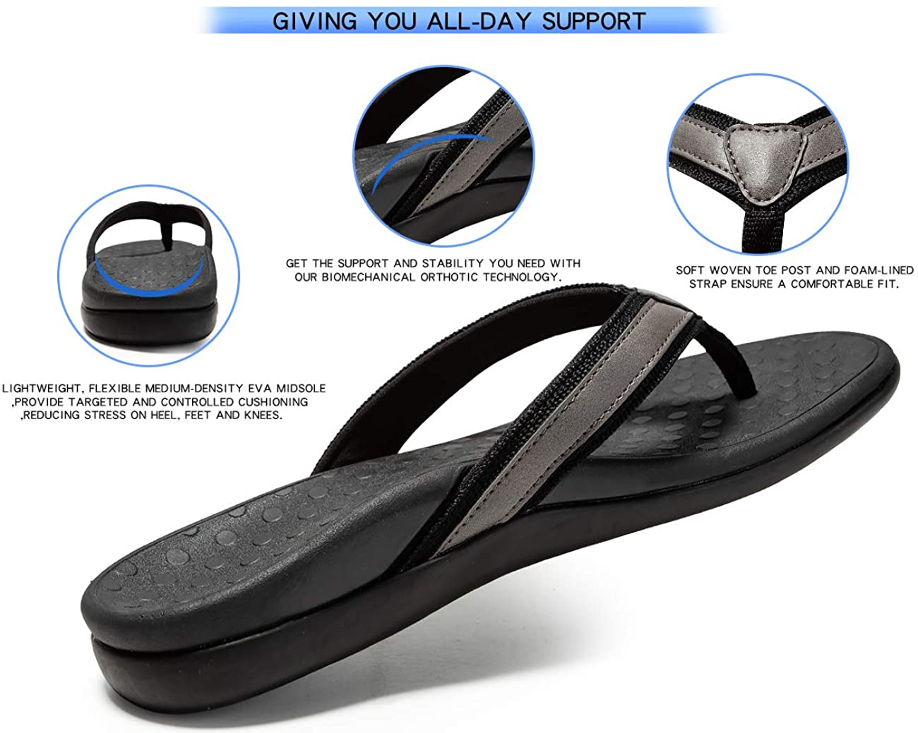 【45%OFF】Plantar Fasciitis Feet Sandal with Arch Support
