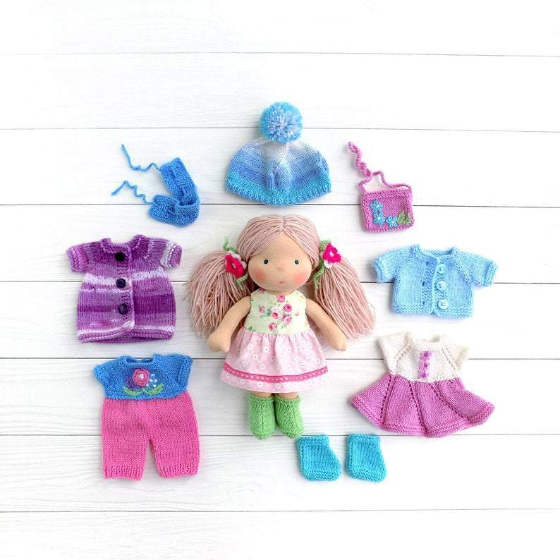 Waldorf Small Organic doll Small Waldorf redhead doll with big set of clothes and accessories(PRE ORDER.NEXT SHIPPING DAY 15 DAYS)