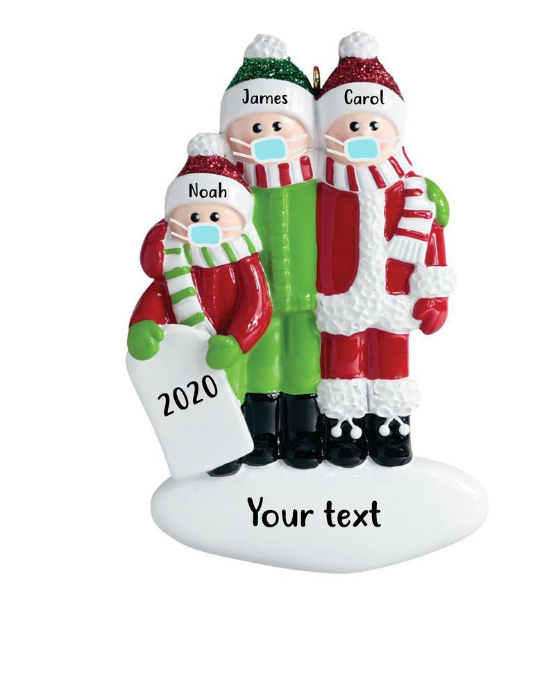 Corona Christmas Ornament for Family of 3, personalized