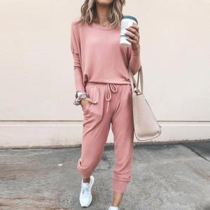 Solid Color Long Sleeve Casual Tracksuit Set