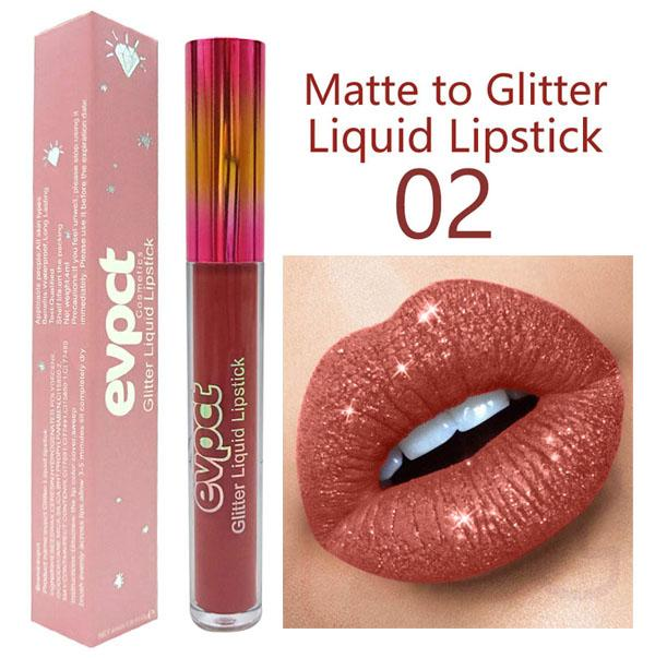 evpct 15 Colors Glitter Shiny Liquid Lipstick Waterproof Non-stick Cup Long Lasting Won't Fall Off