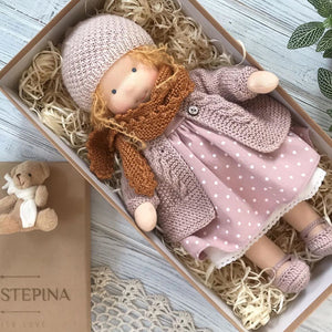 Handmade Waldorf doll with big set of clothes (PRE ORDER.NEXT SHIPPING DAY 15 DAYS)