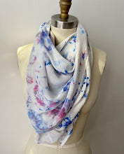 Load image into Gallery viewer, Confetti Blues Ice Dye Silk Scarf