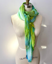 Load image into Gallery viewer, Tropics Ice Dye Silk Chiffon Oversized Scarf