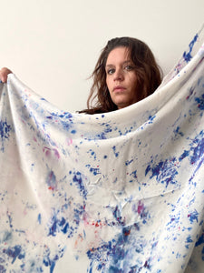 Confetti Blues Ice Dye Silk Scarf