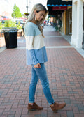 A Softer Side of Me Color Block Blouse Sage
